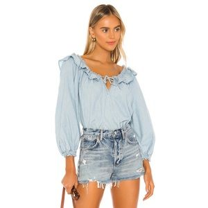 Free People Lily Of The Valley Chambray Blouse XL